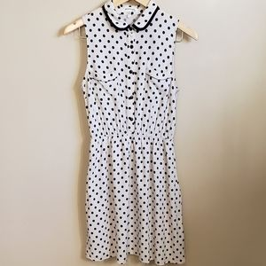 Monteau Cream and Blue Polka Dot Dress